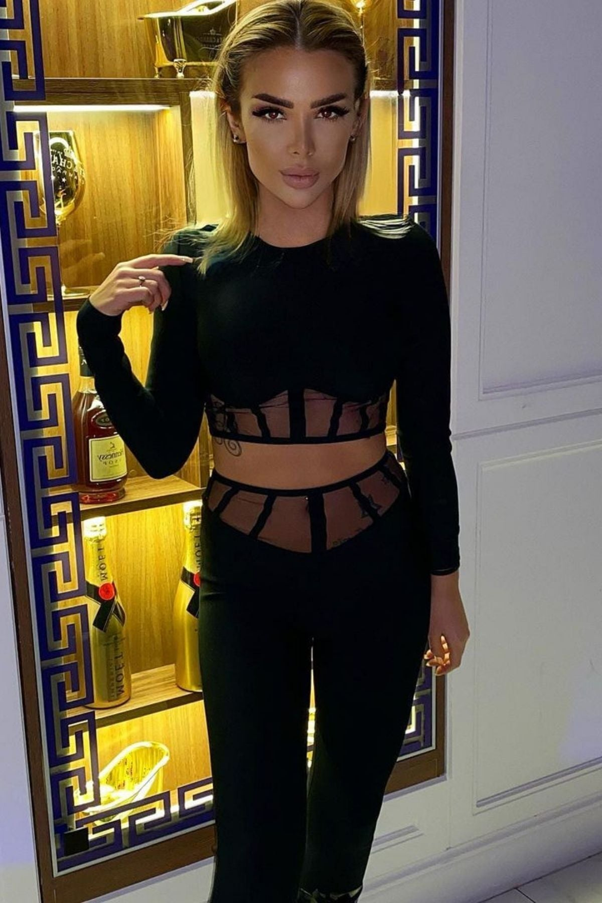 Women's Black Top And High Waisted Mesh Block V-Cut Two Piece Pant Set