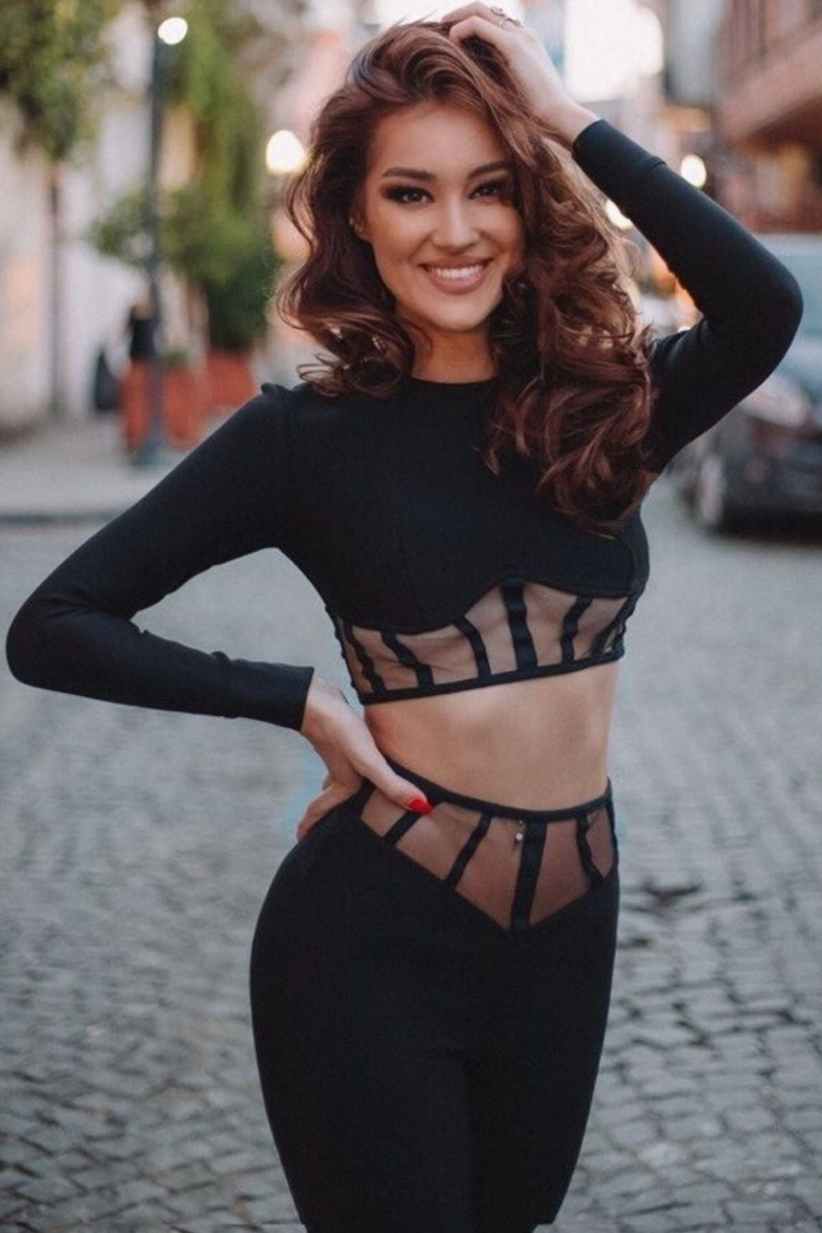 Women's Black Long Sleeve Crop Top And High Waisted Mesh Block V-Cut Two Piece Pant Set