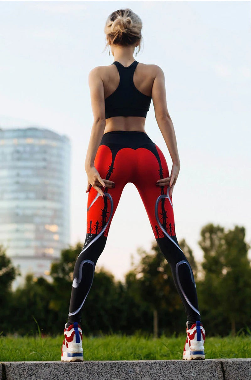 Women's Red And Black Wire Fence Print Leggings