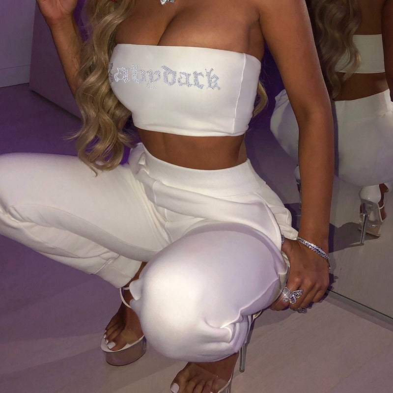 White Tube Top And Sweatpants Two Piece Set