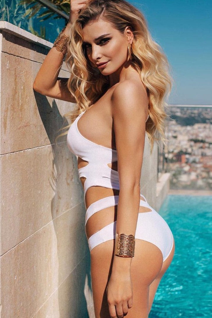 White Cut Out One Shoulder  One Piece swimsuit