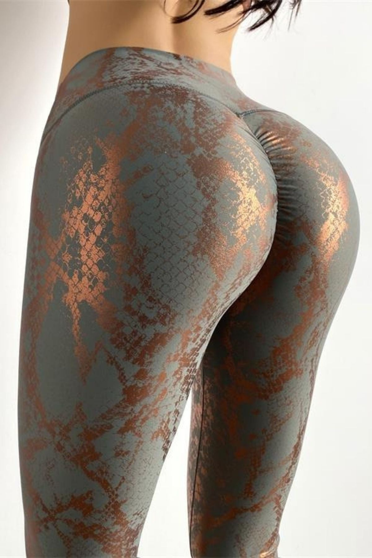 Women's Sexy Tight Grey Snakeskin Print Legging High Waisted Fit And Ruched Shiny Metallic Color