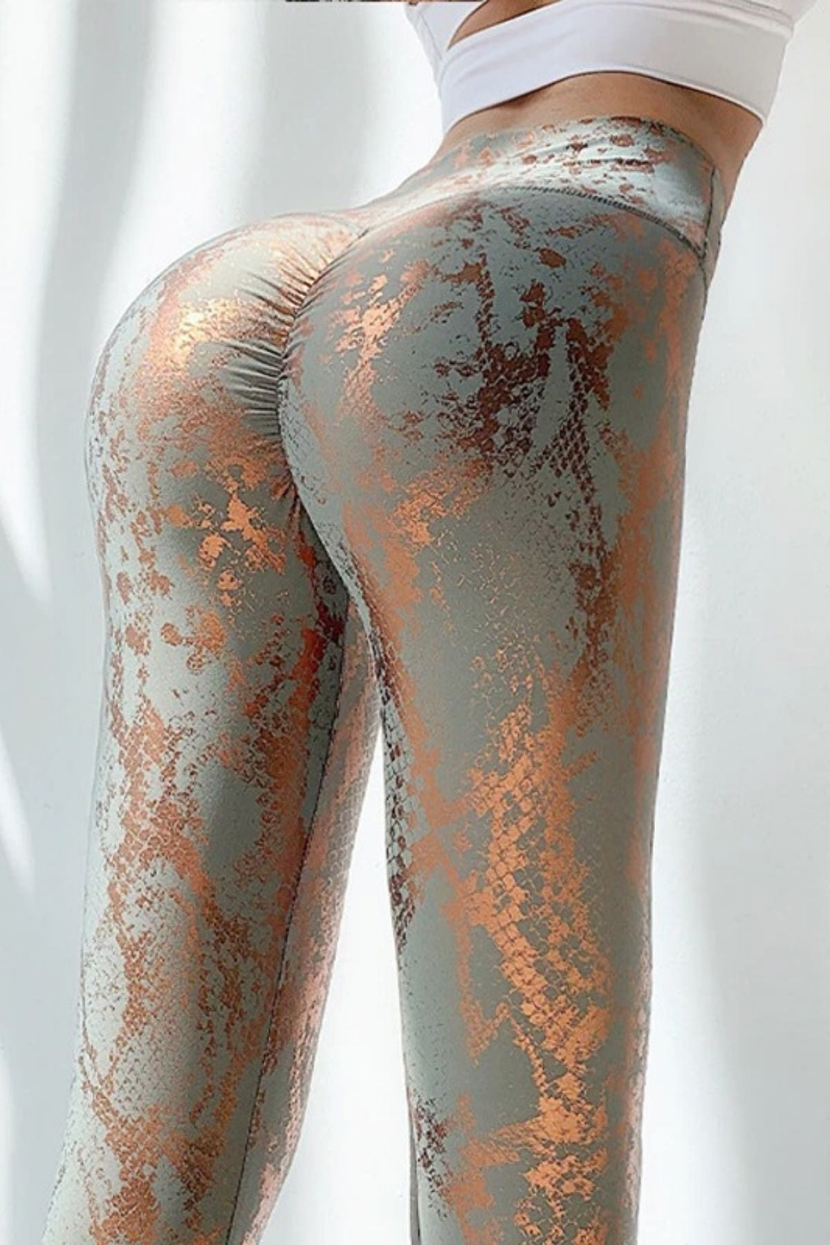Women's Sexy Tight Grey Print Legging With High Waisted Fit And Ruched Shiny Metallic Color