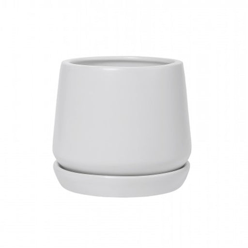 White Copenhagen Planter + Saucer - Medium