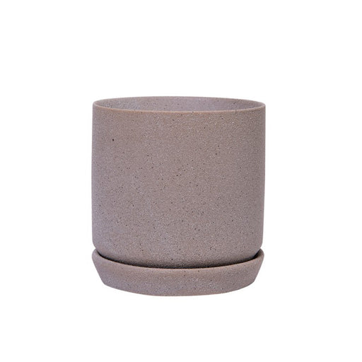 Small Helsinki Planter + Saucer - Dusty Grey