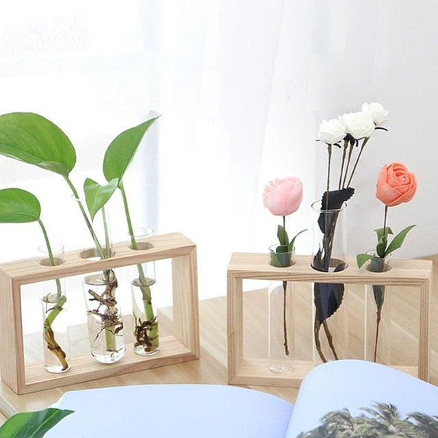 Glass and Wood Vase Planter Terrarium Table Desktop Hydroponics Plant Bonsai Flower Pot Hanging Pots with Wooden Tray Home Decor