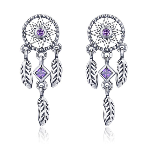 Boucles d'oreilles Western Purple Dreamcatchers | Western-Avenue