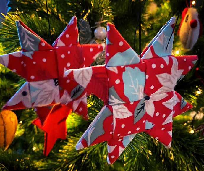 Homemade Christmas Decorations - Fabric Scandinavian Christmas Stars