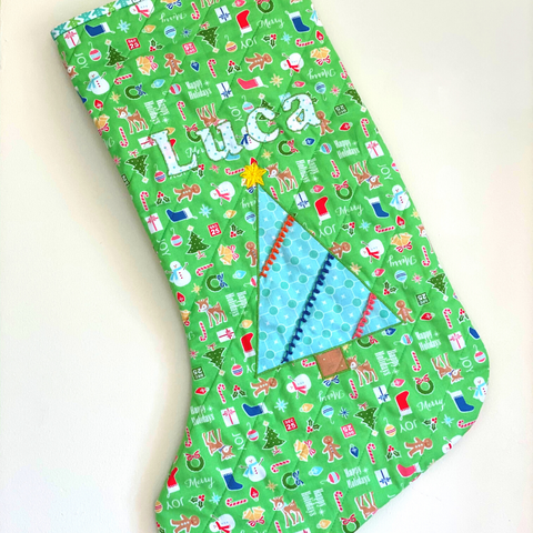 Quilted Christmas Stocking for Luca
