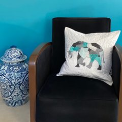 Scrappy Appliqué Elephant Cushion by Dotty and Grace