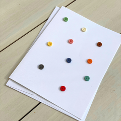 As cute as a button - Lori Holt buttons on a Handmade Greeting Card