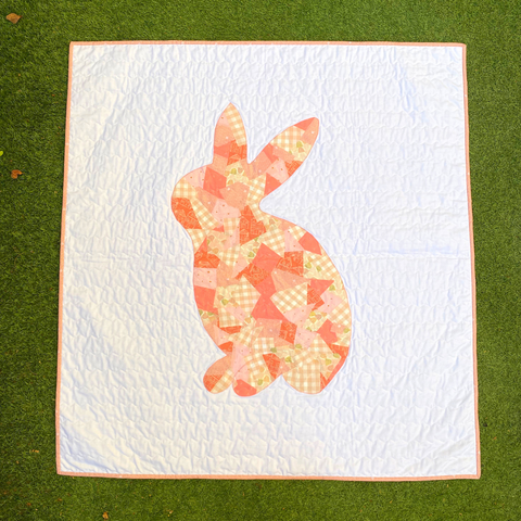 Scrappy Appliqué Bunny baby quilt by Janelle from Dotty and Grace