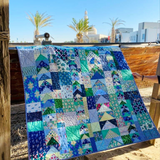 Sea glass quilt stitched by Dotty and Grace