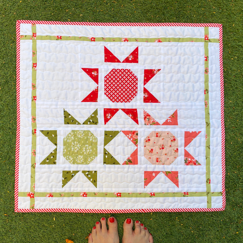 Sunny Days Mini Quilt - stitched by Janelle from Dotty & Grace