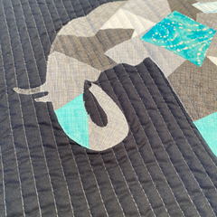 Scrappy Appliqué Elephant Wall Hanging - close up by Dotty and Grace