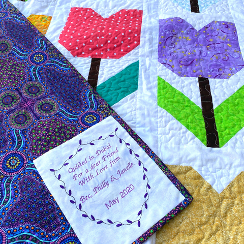 Label and backing for the Totally Tulips Quilt