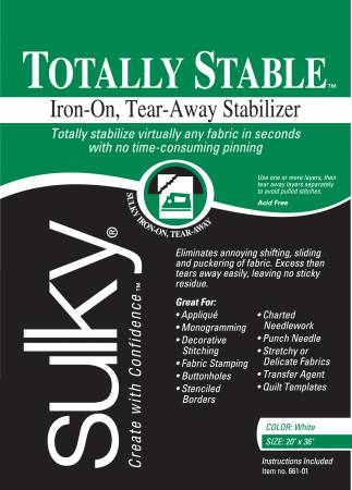 Totally Stable Iron-on Tear-Away Stabilizer - White 20in x 1yd