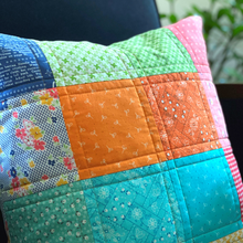 Load image into Gallery viewer, Quilted Cushion - Patchwork Farm Girl Vintage