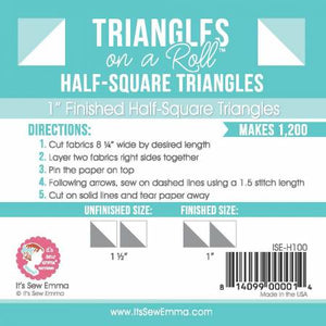 "1"" Half Square Triangle Paper - Triangles on a Roll #H100"
