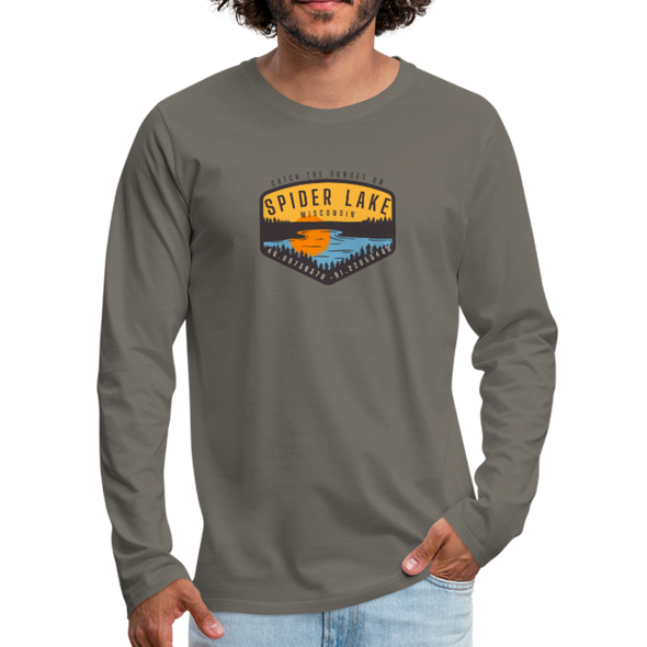 Man Wearing Catch the Sunset on Spider Lake Long Sleeve T-Shirt