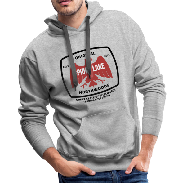 Man Wearing Original Northwoods Spider Lake Hoodie Sweatshirt Heather Gray
