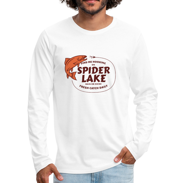 Man Wearing Fresh Catch Daily Spider Lake Long Sleeve T-Shirt White