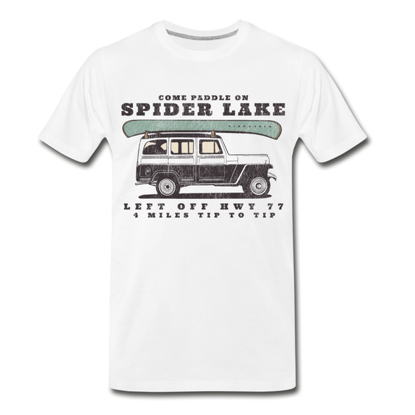 Come Paddle on Spider Lake Vintage T-Shirt - white