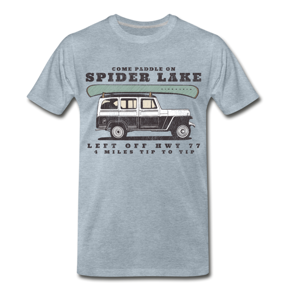 Come Paddle on Spider Lake Vintage T-Shirt - heather ice blue
