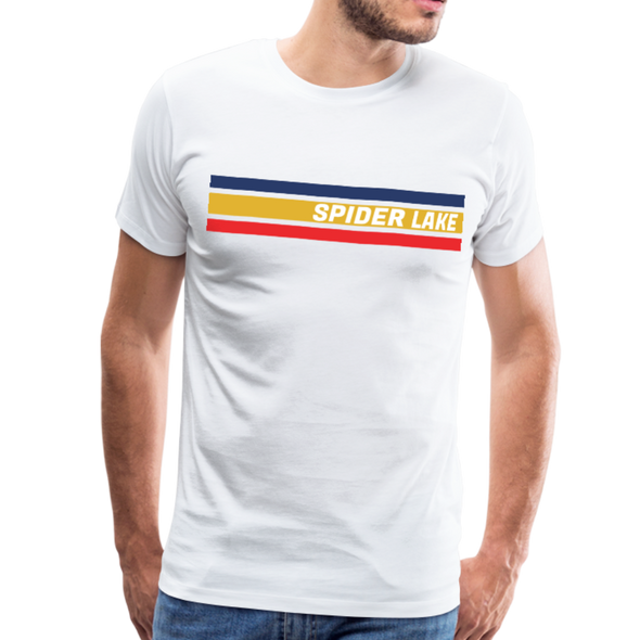 Man Wearing Retro Spider Lake T-Shirt White