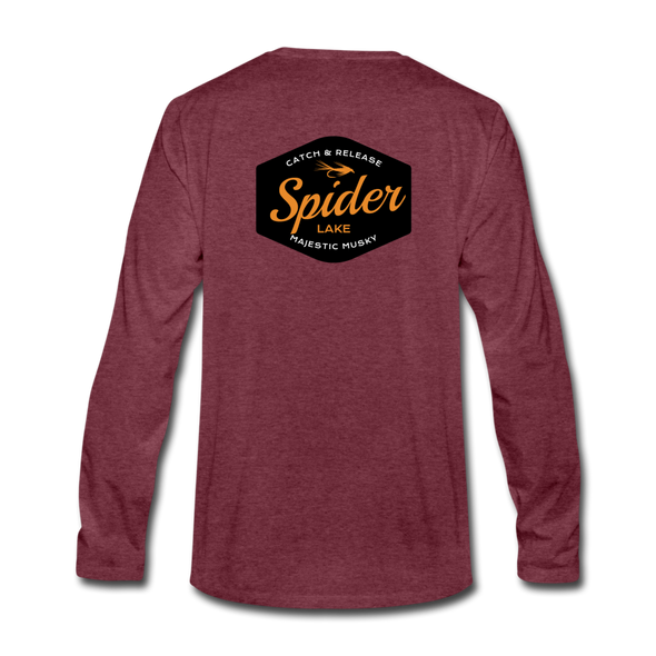 Spider Lake Majestic Musky Long Sleeve T-Shirt - heather burgundy