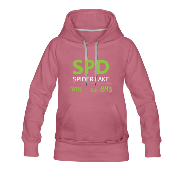 Spider Lake 54843 Airport Code Women's Hoodie - mauve