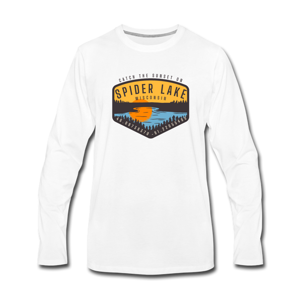 Catch the Sunset on Spider Lake Long Sleeve T-Shirt - white