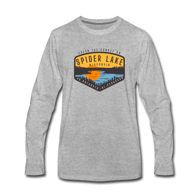 Catch the Sunset on Spider Lake Long Sleeve T-Shirt - heather gray