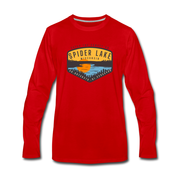 Catch the Sunset on Spider Lake Long Sleeve T-Shirt - red