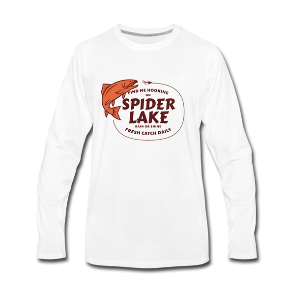 Fresh Catch Daily Spider Lake Long Sleeve T-Shirt - white