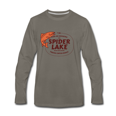 Fresh Catch Daily Spider Lake Long Sleeve T-Shirt - asphalt gray