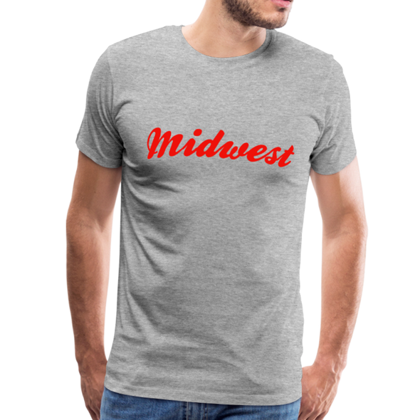 Man wearing Midwest T-Shirt Heather Gray