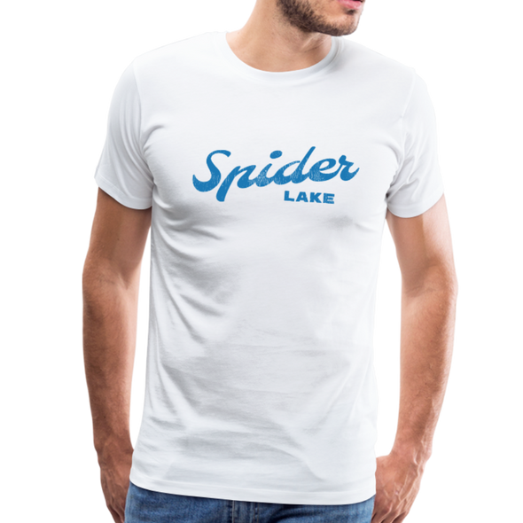 Man wearing Spider Lake Vintage Summer Bright Blue T-Shirt white