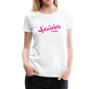 Woman wearing Vintage Spider Lake Summer Bright Fuchsia Premium Women's T-Shirt White