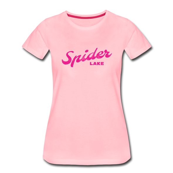 Vintage Spider Lake Summer Bright Fuchsia Women's Premium T-Shirt - pink