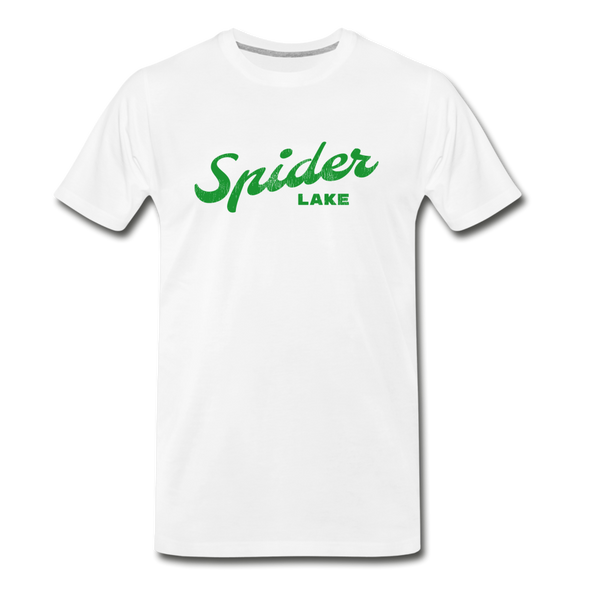 Vintage Spider Lake Summer Bright Green Premium T-Shirt - white