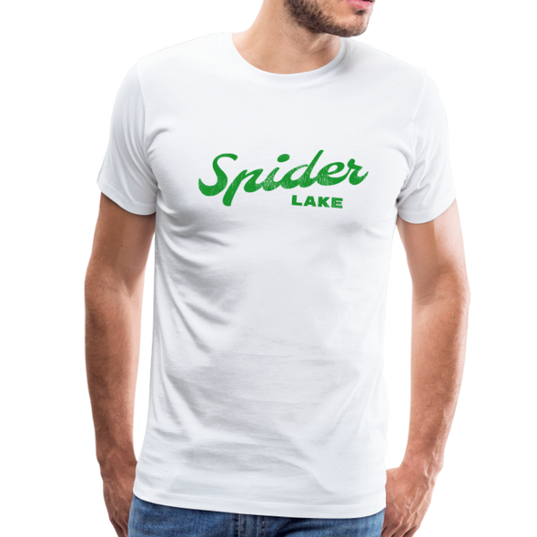 Man wearing Vintage Spider Lake Summer Bright Green T-shirt White