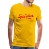 Man wearing Spider Lake Vintage Summer Bright Red Premium T-Shirt Yellow