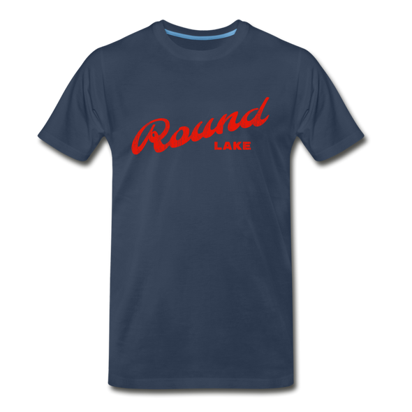 Vintage Round Lake Summer Bright Red Premium T-Shirt - navy