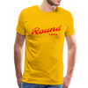 Man wearing Vintage Round Lake Summer Bright Red Premium T-Shirt Yellow