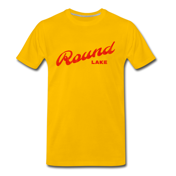 Vintage Round Lake Summer Bright Red Premium T-Shirt - sun yellow