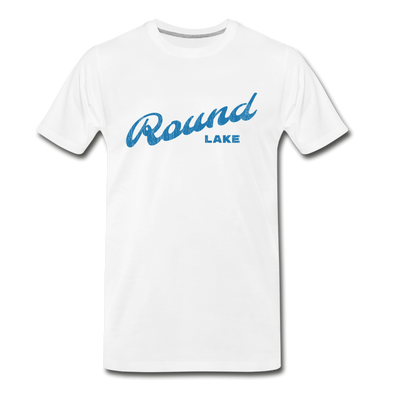Vintage Round Lake Summer Bright Blue Premium T-Shirt - white