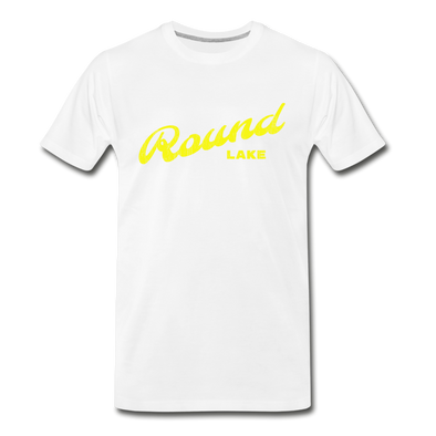 Vintage Round Lake Summer Bright Yellow Premium T-Shirt - white