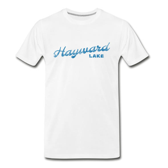 Vintage Hayward Lake Summer Bright Blue Premium T-Shirt - white