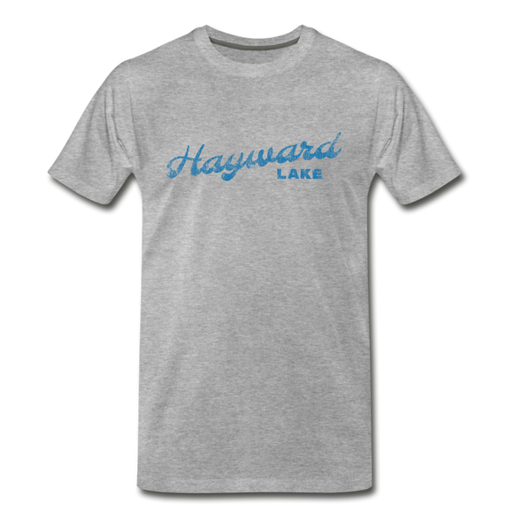 Vintage Hayward Lake Summer Bright Blue Premium T-Shirt - heather gray